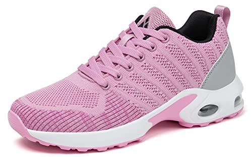 Mishansha Mujer Air Zapatillas de Correr Femenino Zapatos de Niña Running Plataforma Antideslizantes Deportivas Ligeros Sneakers Rosa 36