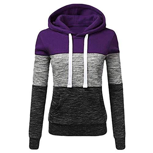 Sweatshirts für Damen,Kapuzenpullover Frauen Gestreift Langarm Pullover mit Kapuze Sport Jacke Tops Shirt Lose Langarmshirts Hoodie