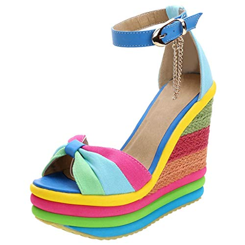 Espadrilles Damen Sommer Keilabsatz Plateausohle Sandalen Regenbogen Frauen Elegante Sandaletten Bequeme Strandsandalen Schöne Sommerschuhe Celucke (Blau, 40 EU)