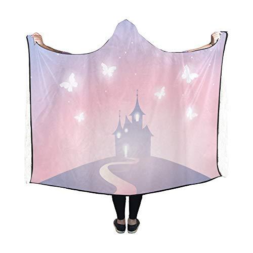 Yushg Mit Kapuze Decke Fantasy Castle Silhouette auf Hügel Decke 60 x 50 Zoll Comfotable Hooded Throw Wrap