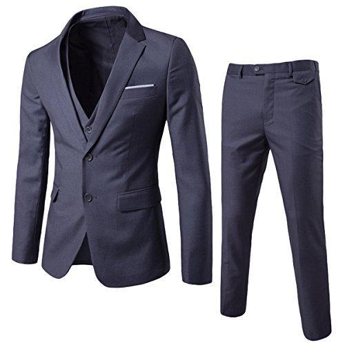Anzug Herren Slim Fit 3 Teilig Anzüge Herrenanzug Sakko für Hochzeit Business Grau Large