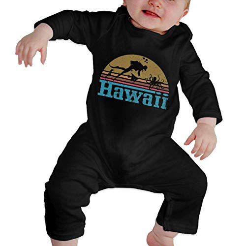 WlQshop Unisex-Baby Kurzarm Body, Scuba Diving Vintage 1980's Style Hawaii Souvenir Baby Girl Long Sleeve Gentleman Bodysuit