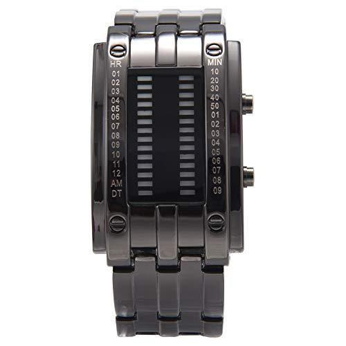 YOULY Reloj de Pulsera LED de Fecha Digital de aleacion para Hombres (LED Azul/Pulsera Negra)