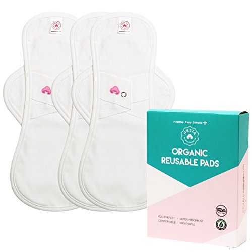 Hesta FDA Registered Organic Reusable Cloth Menstrual Pads (Environment-Friendly), PMS Relief Set of...