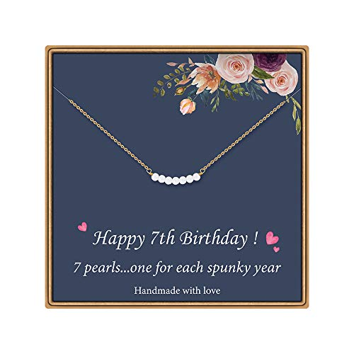 7 Year Old Girl Gifts for Birthday - Pearl Necklace Happy Birthday Gifts for 7 Year Old Girl Gifts Ideas Granddaughter Niece Daughter Necklace Girls Birthday Gifts Age 7