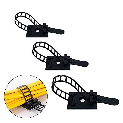 60 Pezzi / 20 pezzi 3 dimensioni Ferma Cavi Regolabile, Fascette Clip per cavo clip per cavi adesivi di gestione filo Wrap Organizer Filo di fissaggio (Nero)