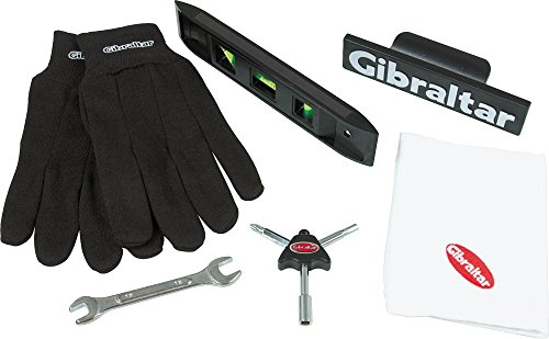 Gibraltar accessoires drums - rek accessoireset - waterpas, schroefsleutel, trommelsleuteltool, handschoenen, handdoek, clip-on logo, RF-TKIT