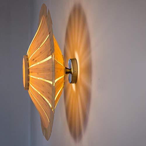 Wandlamp ronde buiten bamboehuid gang met schaduw woonkamer dimbaar snoerloos staand in stopcontact steken moderne LED spiraal wandlamp decoratief 70cmindiameter