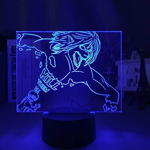 Luz de noche titán para niños luz de noche 3d decoración de dormitorio cambio de luz color ataque de luz de noche Titan anime cosplay regalo