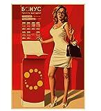 LGXINGLIyidian Seconda Guerra Mondiale Rosso Pin-Up delle Ragazze URSS Sovietica Vintage Tela Retro Poster Bar Cafe Soggiorno Decorazioni Murali Dipinti St287 40X50Cm