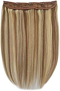 One Piece 5 Clips Quad Weft Clip in Remy Human Hair Extensions Silky Straight Half Head Clip on Hair (18
