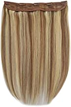 One Piece 5 Clips Quad Weft Clip in Remy Human Hair Extensions Silky Straight Half Head Clip on Hair (20