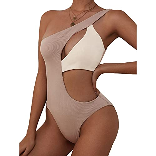 ZAFUL One Shoulder Bikini Contrast Color Patchwork Cutout Ribbed Two Tone One Piece Swimsuits Gray