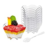Tebery 100 Pack Mini Parfaits Dessert Cups with 100 Spoons, 2.5oz Clear Small Serving Bowl for Tasting Party Desserts Appetizers(Flower Shape)