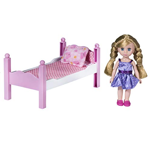 Playkidz Mini Doll Bedroom Playset: Pretend Play Mini Doll with Super Durable Bed, Mirror, and Chair for Children's Doll House or just Fun Play. (Gold)