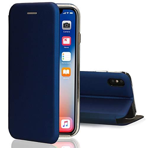 Funda iPhone X & XS Flip Case Cover Azul, Suave Delgado Caso...