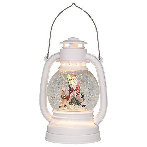 Eldnacele Christmas Snow Globe Lantern Spinning Water Glittering Santa Claus Scene with 6 Hours Timer, Lighted Water Globe Lantern White Santa Claus for Christmas Gifts(Santa)
