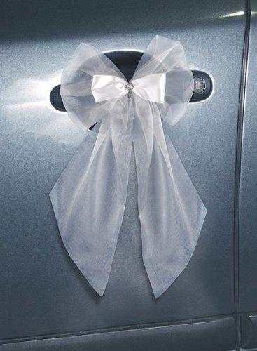 Deko-Schleifen mit Rosette weiß, 20 cm, 2 Stück, Schleifen für Hochzeitsauto, Kirchenbankdeko, Tischdeko