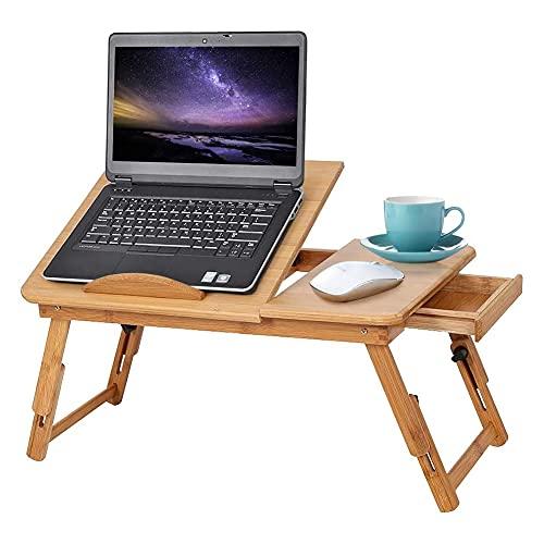 Mesa de Cama para Ordenador Portátil de Madera de Bambú Plegable Altura...