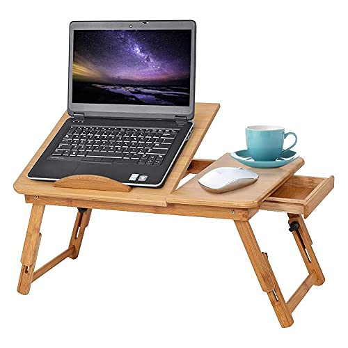 Mesa de Cama para Ordenador Portátil de Madera de Bambú Plegable Altura Regulable Soporte Para Portátil Mesa de Desayuno Mesa de Cuidado Portátil con CajóN Para Cama Sofá Suelo