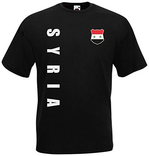 Syrien Syria T-Shirt Trikot Wunschname Wunschnummer (Schwarz, L)