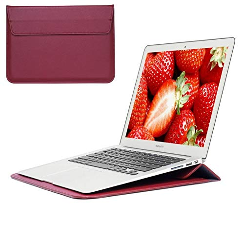 Bolso de Laptop de Cuero 11 12 13 15 15 Pulgadas Huawei Case para MacBook M1 Air Pro 2012 ~ Accesorios de Cubierta de Manga de Tela de computadora (Color : Wine Red, Size : For MacBook 12 Inch)