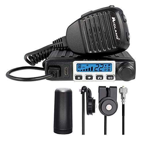 Midland MXT115VP3 MicroMobile Bundle Kit - 15 Watt GMRS Two-Way Radio with 8 Repeater Channels & 142 Privacy Codes, Roll Bar Mount, 6-Meter Antenna Cable, and a 3dB Antenna
