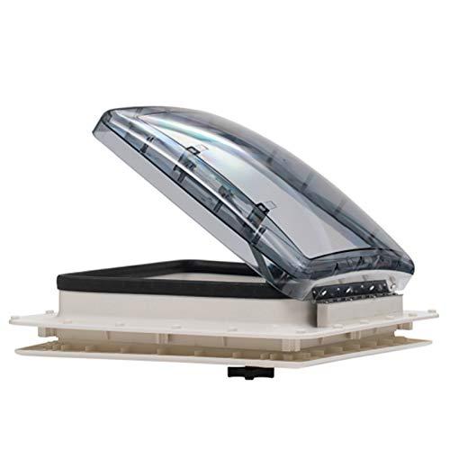 TELAM Ventilación de ventilación, Ojo de Buey de Cristal Ventilador de 12 V para Autocaravana con admisión y Escape de 3 velocidades para autocaravanas Levantamiento de manivela Manual y Tapa de Humo