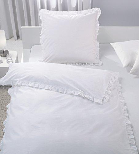 ka Bettwäsche Set Rüschen Romantik Vintage weiß Taupe 135x200 cm Baumwolle TOP (weiß)