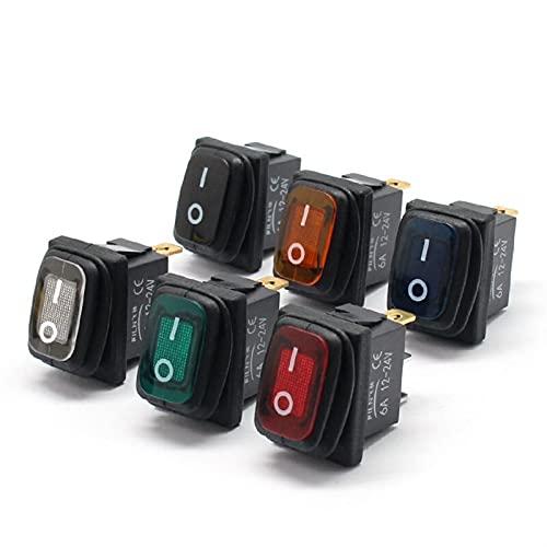 YSJJLRV Basculante Interruptor KCD1-101 3 Pins Mini ON Off Sello Impermeable Rocker Interruptor en 12V Iluminación Roja 6A250VAC 13x19mm (Color : White, Voltage : 12V)
