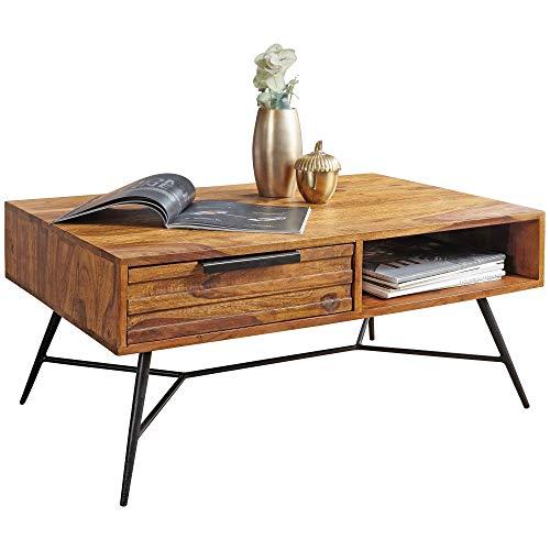 FineBuy Couchtisch FB50901 87 x 41 x 55 cm Sheesham Massiv Holz | Design Holztisch mit Stauraum und Schublade | Massivholztisch Wohnzimmer | Retro-Industrial Wohnzimmertisch mit Metallbeinen
