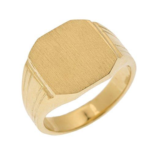 Men's 14k Yellow Gold Custom Engravable Octagon Top Signet Ring (Size 9.75)
