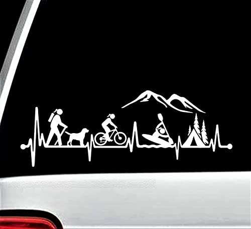 Hiker Girl with Dog Bicycle Cycling Kayak Camping Tent Heartbeat Decal Sticker for Car Window 12.0 Inch BG 620