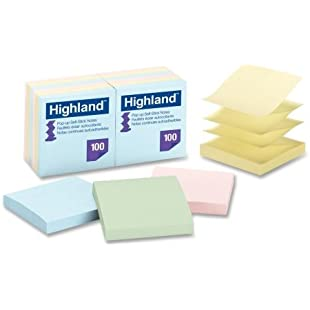 "Wholesale CASE of 20 - 3M Highlands Self-stick Pastel Pop-up Notes-Pop-up Notes, Removable,3""x3"",100Sht/PD,12/PK,Asst Pastel:Thecricketmaster"