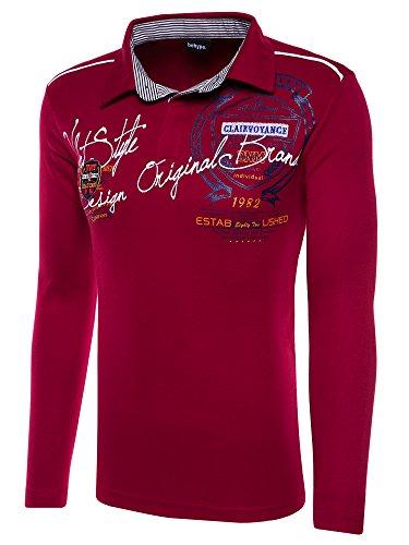 behype. Herren Langarm Polo-Shirt Deciding Longsleeve T-Shirt 20-0682 (L, Weinrot)