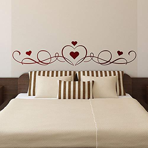 Cabecera en forma de corazón, calcomanía de pared de dormitorio, calcomanía de vinilo de jardín de infantes grande, calcomanía de pared de sala de estar pintura de color rojo oscuro M 106X21cm