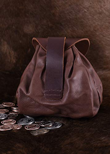 Geldbeutel mit Hornknopf, dunkelbraun Lederbeutel, groß Ledertasche – Wikinger – LARP – Mittelalter - 3