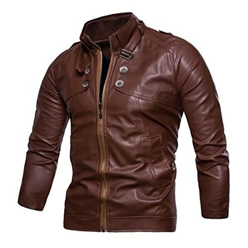 Mens Faux Leather Biker Style Bomber Jacket Vintage Motorcycle Retro Biker Stylish Modern Leather Jacket Classic Elegant Comfortable Simple Popular Streetwear Outwear 3XL