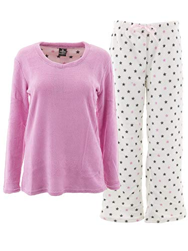 Donna L'oren Women's Stars Pink Fleece Pajamas L