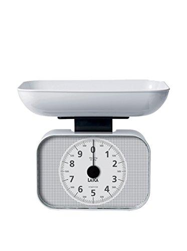 Laica KS2001 Bilancia da Cucina Meccanica con piatto, 10 kg, bianco, plastica