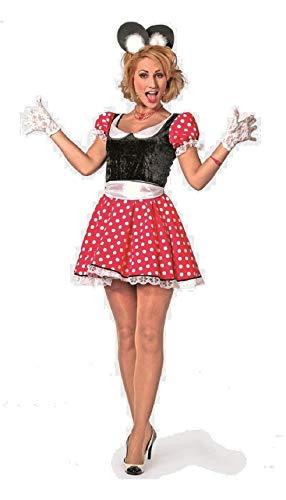 narrenkiste W4675-44 - Disfraz de Mickey para mujer, talla 44, color rojo, negro y blanco