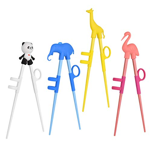 Training Chopsticks, Cute Animal Shape Easy to Use Learning Chopsticks for Kids With attachable for Right or Left Handed Child Adults Beginners (4 pack)