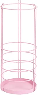 5CD1 Iron Umbrella Stand Umbrella Bucket Lobby Home Floor Hanging Umbrella Stand Storage Shelf (Color : Pink)