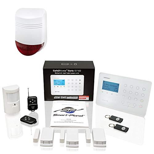 Safe2Home® Funk Alarmanlagen Set SP110 mit Sabotageschutz – deutschsprachiges GSM Alarmsystem mit SMS Alarmierung etc. - Alarmanlagen fürs Haus Büro inkl. Zubehör
