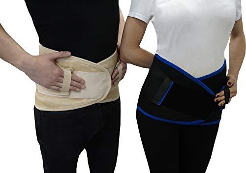 ELASMA Premium Rückenbandage Lendenwirbel für Herren und Damen - Ischias-Bandage - Stützgürtel Lendenwirbelsäule - Rückenstützgürtel C770 (Beige, XXL)
