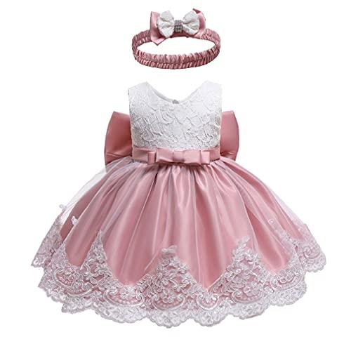 Vestido Bautismo Bebe Niña Encaje Flores Bordado Bautizo Tutu Vestido Chicas Princesa Vestir Blanco + Rosa/6M