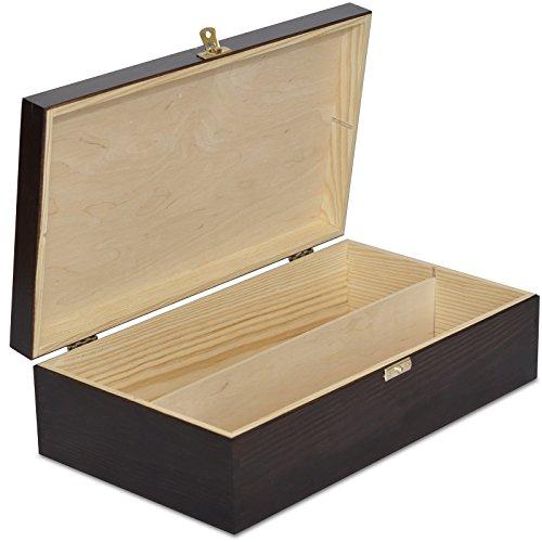 Creative Deco Braune Wein-Kiste aus Natürliches Kiefern-Holz | Wein-Box für 2 Flaschen mit Deckel und Verschluss | 35 x 20 x 10 cm | Perfekt für Lagerung, Dekoration oder als Geschenk-Holzkiste
