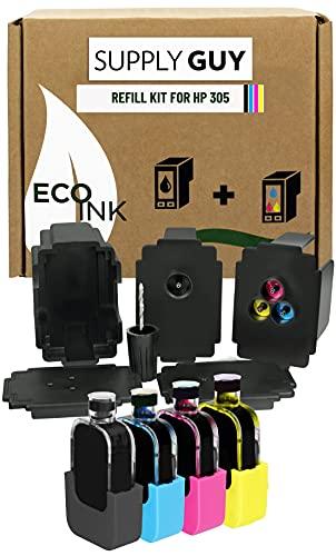SupplyGuy Tinta de Recarga Compatible con el Juego de Recarga HP 305 XL - Negro + Color - Incl. Accesorios para la Recarga fácil y Limpia de los Cartuchos de Tinta de la Serie 305 / 305XL