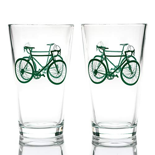 Greenline Goods - Bicycle Beer Glasses (Set of 2)  16 oz Drinkware with Colorful Cyclist Designs  ...