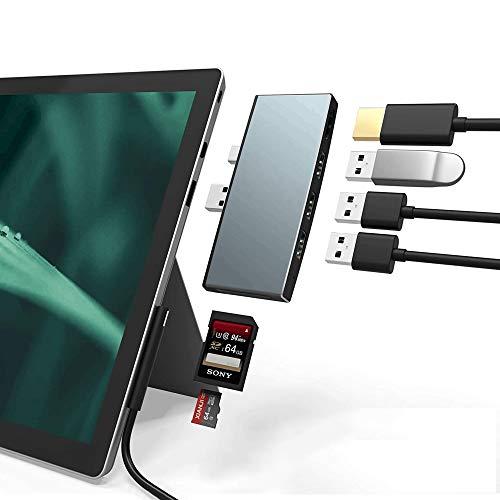 Bawanfa Hub USB 3.0 para Laptops Microsoft Surface Pro 4/5/6, Lector Dual Tarjetas USB, 3 Puertos USB 3.0 (5Gps) + Mini DP a HDMI + Combo Adaptador para Tarjetas de Memoria SD/TF (Micro SD), Aluminium